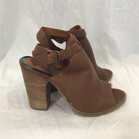 37211be7aed8 Lucky Brand Shoes - Lucky Brown Heeled Peep Toe Booties 7